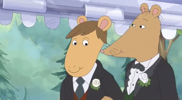 Mr. Ratburn, right, marries an aardvark named Patrick.