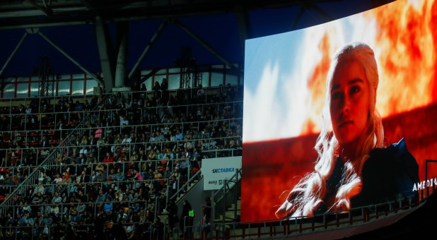 "The character Daenerys Targaryen is seen on an advertisement screen before the screening of the final episode of ""Game of Thrones."""