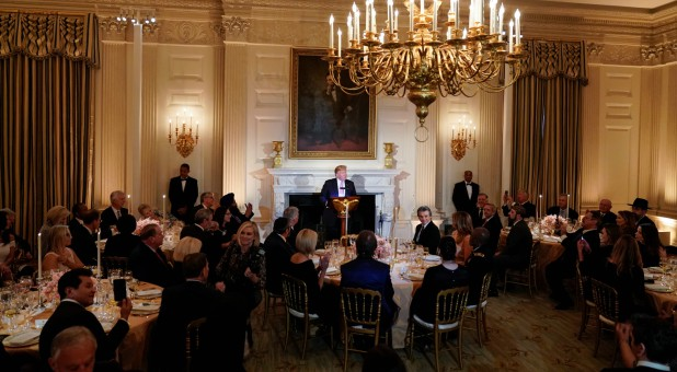 U.S. President Donald Trump speaks during a dinner before a National Day of Prayer at the White House.