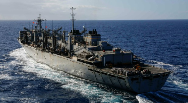 The fast combat support ship USNS Arctic pulls alongside the Nimitz-class aircraft carrier USS Abraham Lincoln to conduct a replenishment-at-sea in the Mediterranean Sea.