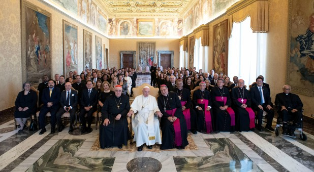 Pope Francis attends an audience with pilgrims from Panama at the Vatican.