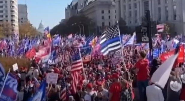 "Trump supporters in Washington, D.C. for the ""Million MAGA March"""