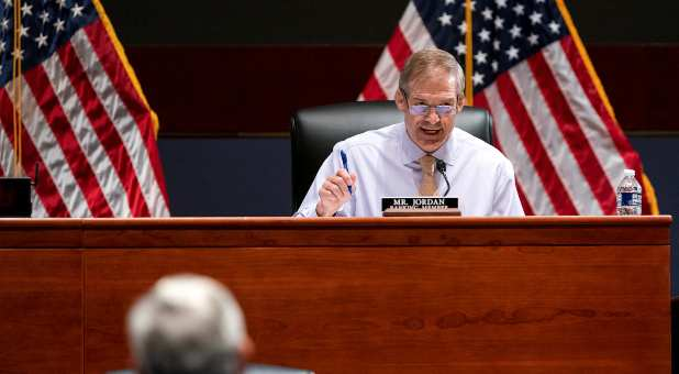 Rep. Jim Jordan (R-OH) questions Attorney General Merrick Garland during a House Judiciary Committee oversight hearing of the Department of Justice on Capitol Hill in Washington, D.C., U.S. October 21, 2021.