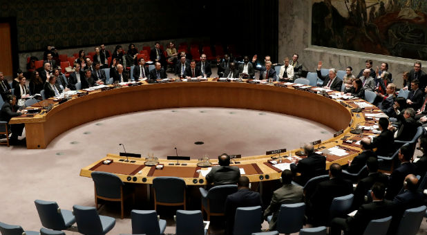 The United Nations Security Council Votes on a resolution.