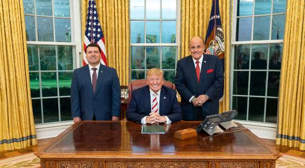 Xavier DeGroat with former President Donald J. Trump and former New York City Mayor Rudy Giuliani